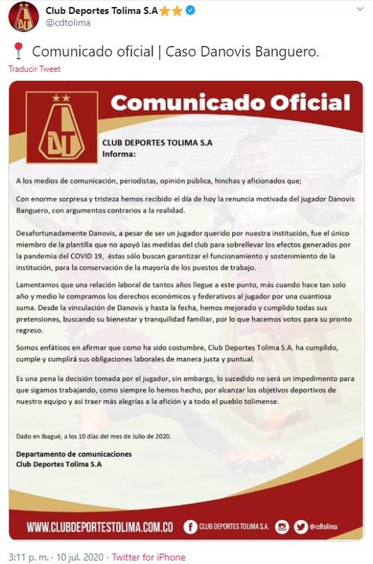 Deportes Tolima, Danovis Banguero, renuncia, Atlético Nacional
