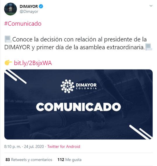 Dimayor, comunicado, Jorge Enrique Vélez