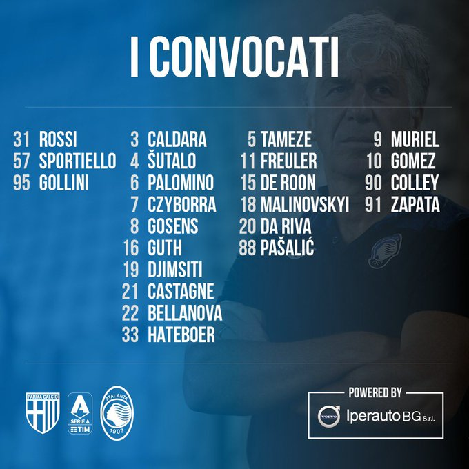 Duván Zapata, Luis Fernando Muriel, Parma vs. Atalanta, convocatoria, Serie A 2019-20