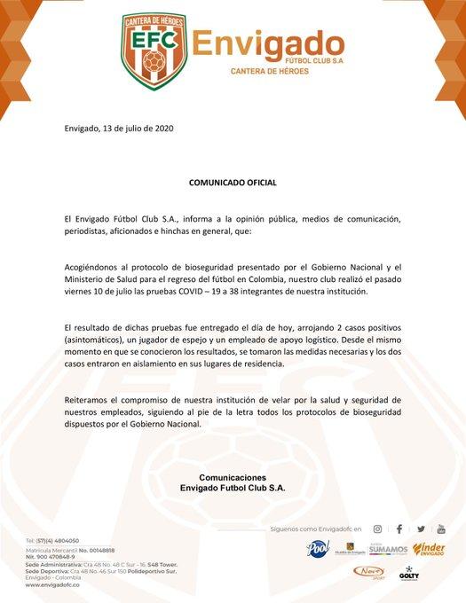 Envigado FC, COVID-19
