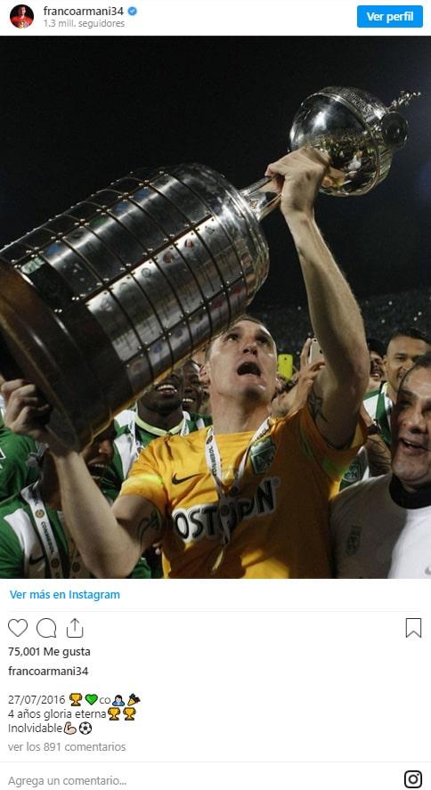 Franco Armani, Atlético Nacional, Copa Libertadores 2016, campeón
