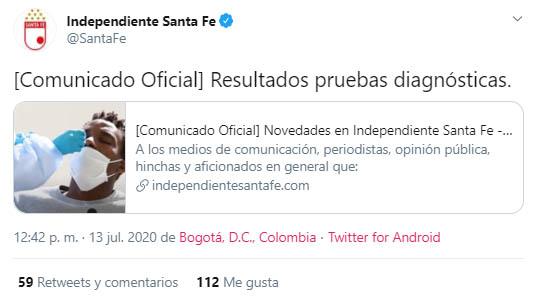Independiente Santa Fe, COVID-19, Fabián Sambueza