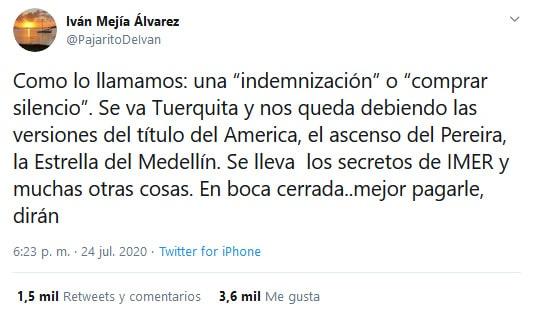 Iván Mejía Álvarez, Jorge Enrique Vélez, Dimayor, Fútbol Profesional Colombiano, Deportivo Independiente Medellín, América de Cali