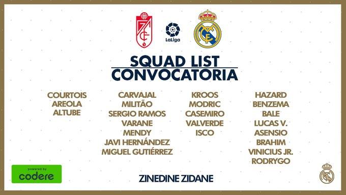 James Rodríguez, Granada vs. Real Madrid, LaLiga 2019-20, convocatoria