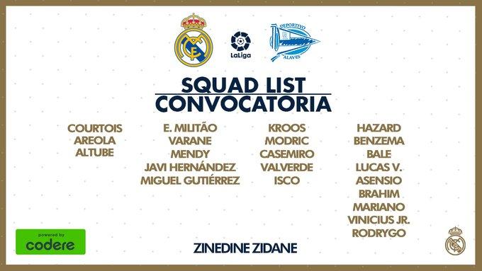 James Rodríguez, Real Madrid vs. Alavés, LaLiga 2019-20, convocatoria