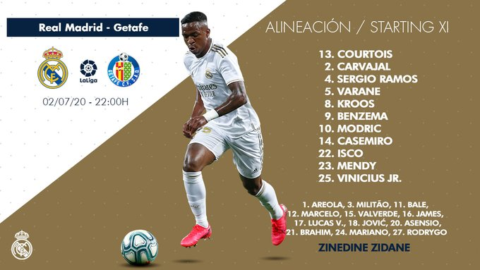 James Rodríguez, Real Madrid vs. Getafe, LaLiga 2019-20, formación titular