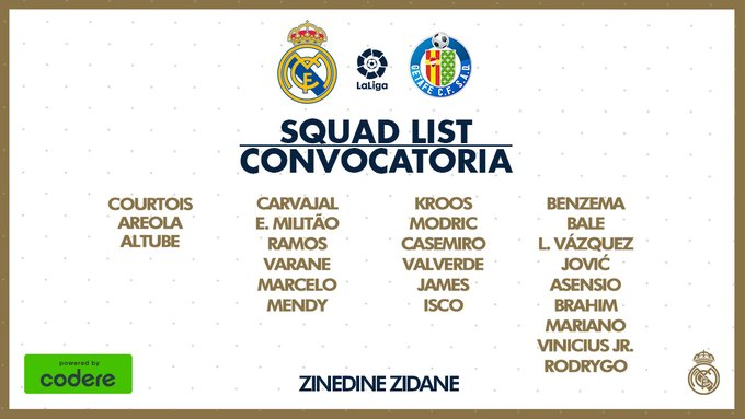 James Rodríguez, Real Madrid vs. Getafe, convocatoria, LaLiga 2019-20