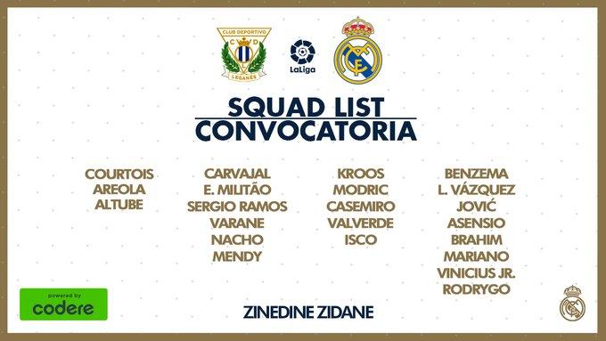 James Rodríguez, convocatoria, Leganés vs. Real Madrid, LaLiga 2019-20