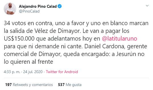 Jorge Enrique Vélez, Dimayor, Fútbol Profesional Colombiano, Alejandro Pino Calad