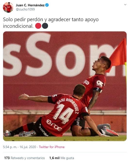 Juan Camilo 'Cucho' Hernández, perdón, afición, Mallorca 1-2 Granada, LaLiga 2019-20