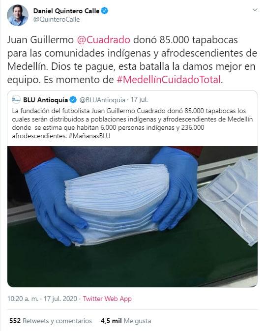Juan Guillermo Cuadrado, donación, tapabocas, Medellín, Daniel Quintero Calle