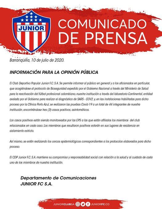 Junior FC, coronavirus COVID-19