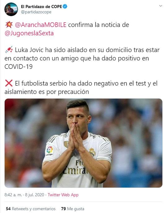 Luka Jović, Real Madrid, COVID-19