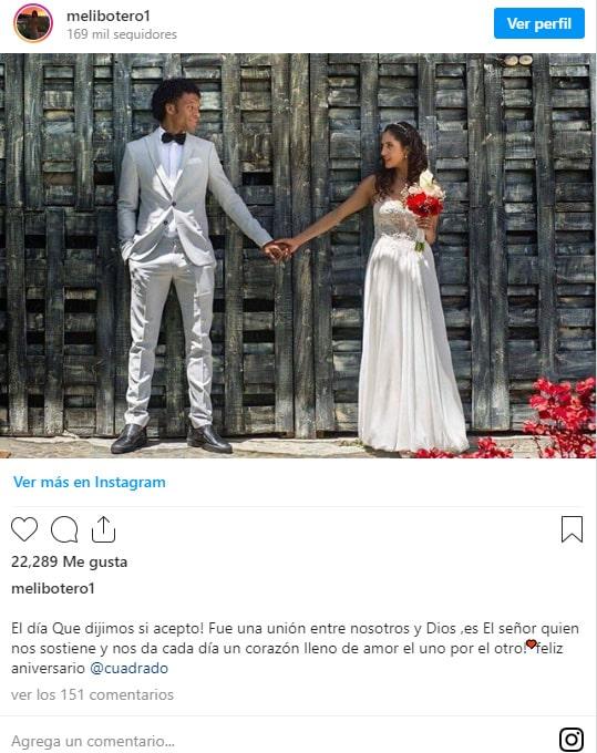 Melissa Botero, Juan Guillermo Cuadrado, aniversario