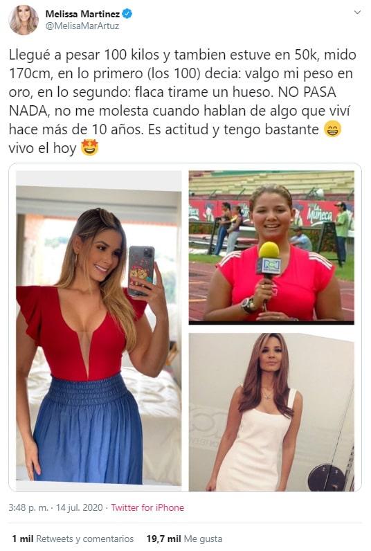 Melissa Martínez, antes, después