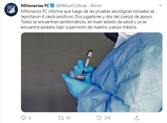 Millonarios FC, COVID-19, 4 casos positivos