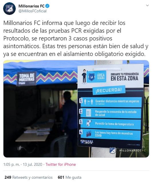Millonarios FC, COVID-19
