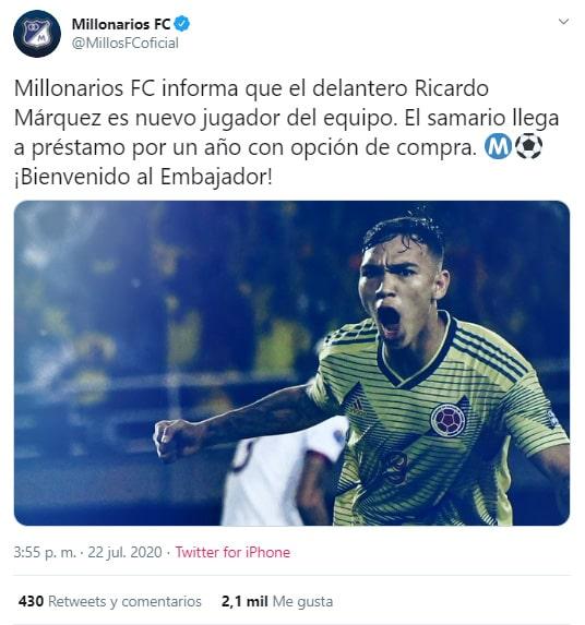 Millonarios FC, Ricardo Márquez, contratación