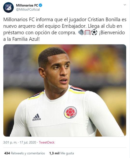 Millonarios FC, contratación, Cristian Bonilla