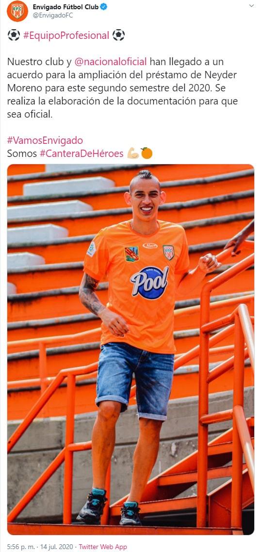 Neyder Moreno, Atlético Nacional, Envigado FC, préstamo