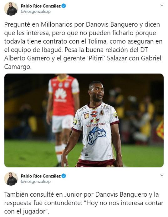 Pablo Ríos González, Danovis Banguero, Atlético Nacional, Millonarios FC, Junior FC
