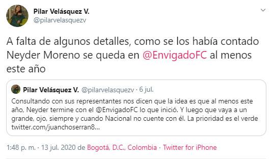 Pilar Velásquez, Neyder Moreno, Envigado FC
