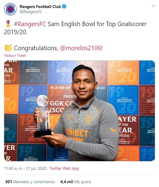 Rangers FC, Alfredo Morelos, Sam English Bowl