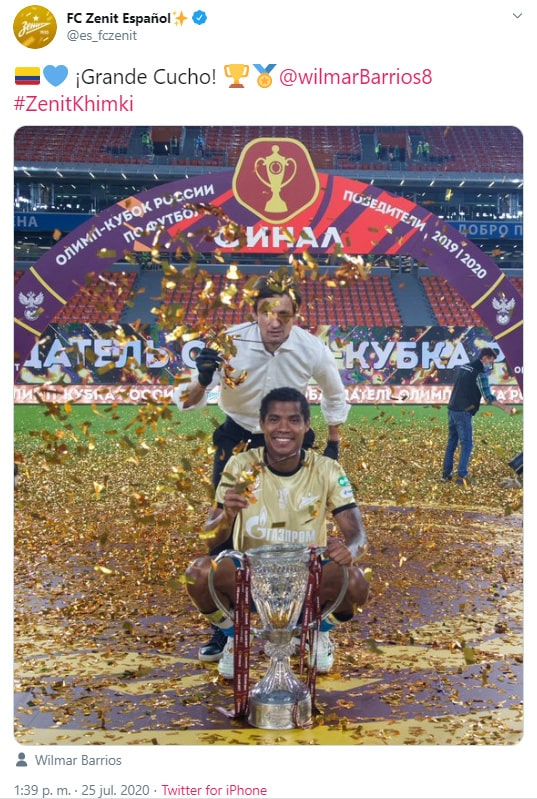 Wilmar Barrios, campeón, Copa de Rusia 2019-20, FC Zenit, celebración