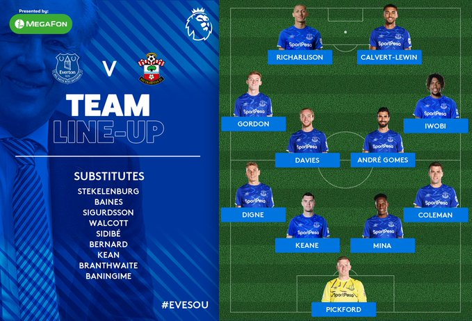 Yerry Mina, Everton vs. Southampton, Premier League 2019-20, formación titular