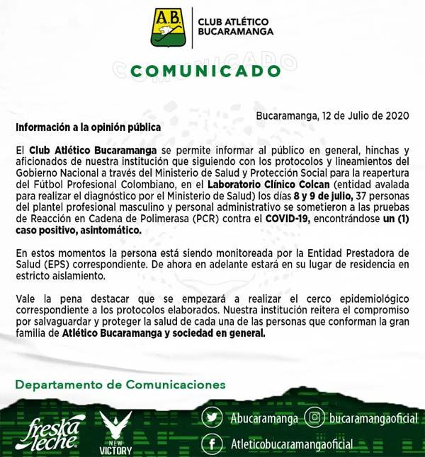 Atletico Bucaramanga COVID-19