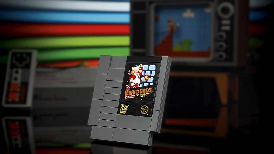 Cartucho de Super Mario Bros en versión Lego