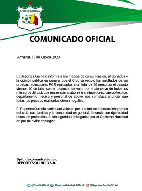 Deportes Quindio Covid-19