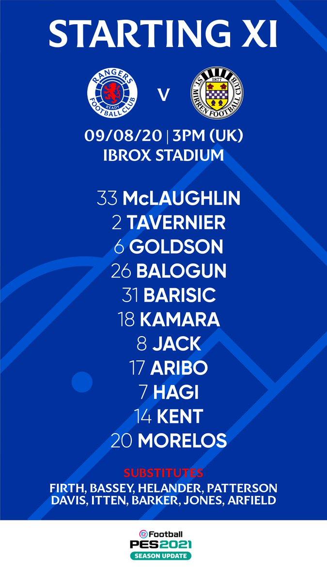 Alfredo Morelos, formación titular, Rangers FC vs. St. Mirren FC, Scottish Premiership 2020-21