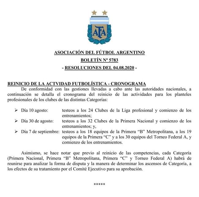 Asociación del Fútbol Argentino, regreso, entrenamientos