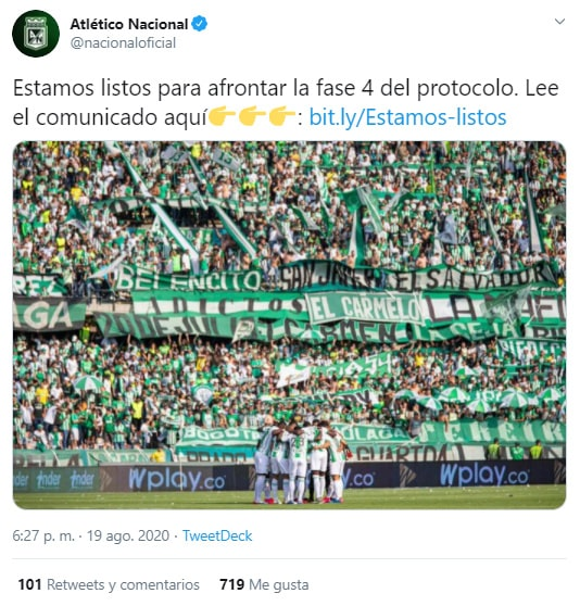 Atlético Nacional, fase 4, protocolo, COVID-19