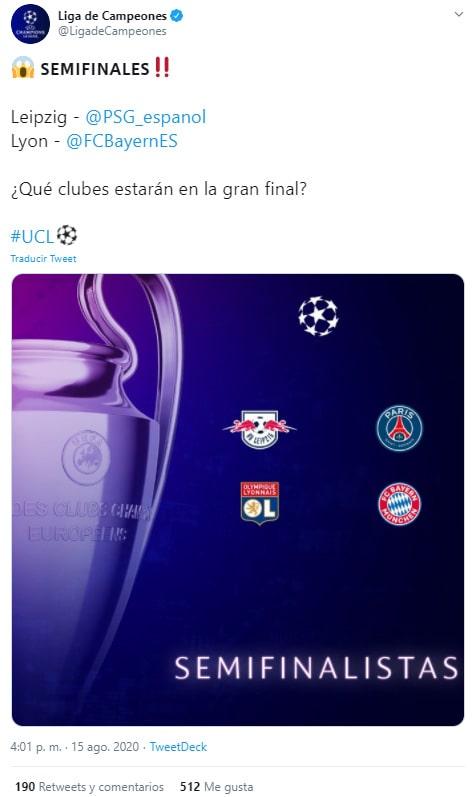 Champions League 2019-20, semifinales