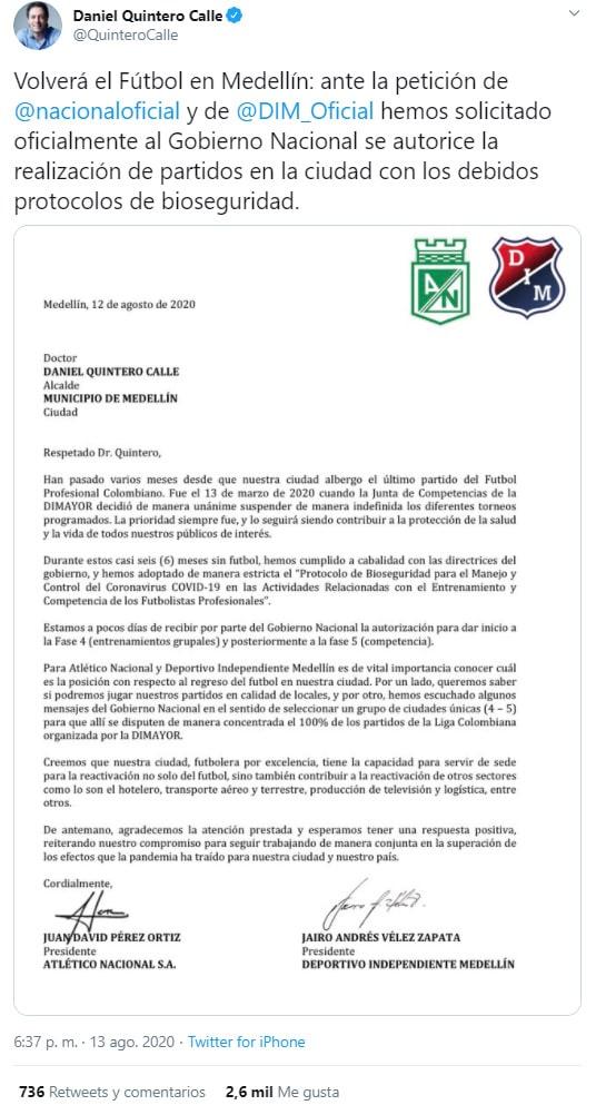 DIM, Atlético Nacional, Daniel Quintero, Liga 2020-I