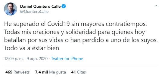 Daniel Quintero, Medellín, alcalde, COVID-19