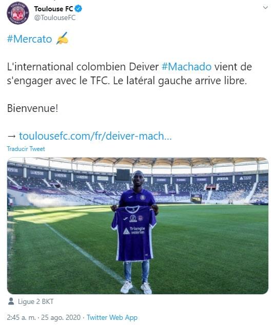 Deiver Machado, presentación, Toulouse FC