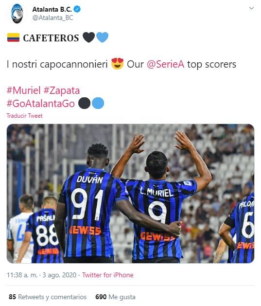 Duván Zapata, Luis Fernando Muriel, Atalanta, goleadores, Serie A 2019-20