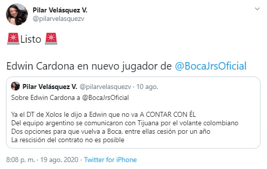 Edwin Cardona, Boca Juniors, Pilar Velásquez