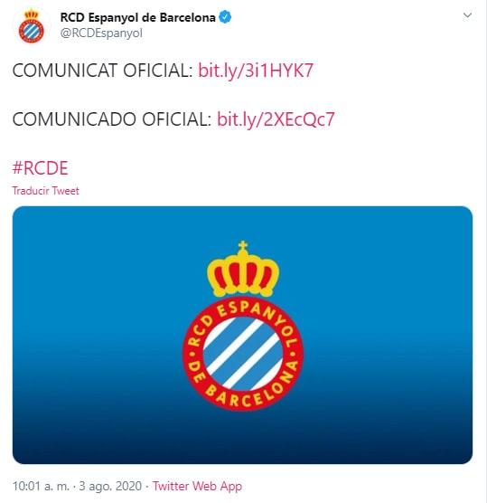 Espanyol, Bernardo Espinosa, descenso, carta