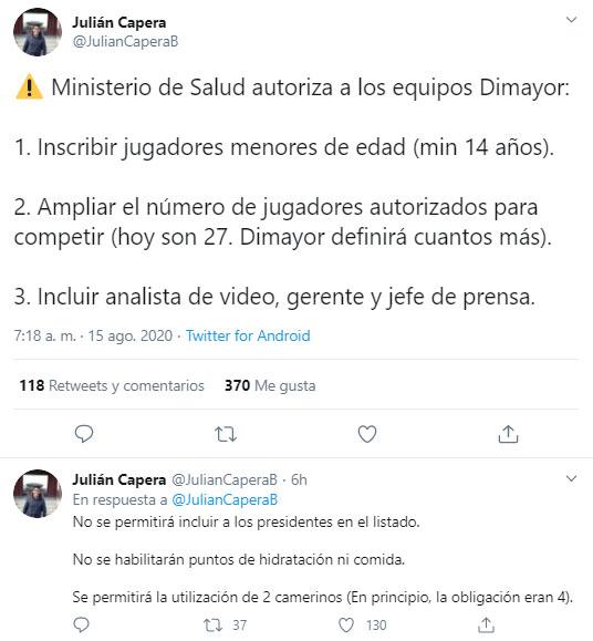 Fútbol Profesional Colombiano, COVID-19, Julián Capera