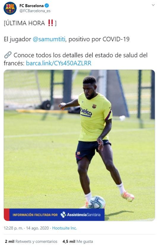 FC Barcelona, Samuel Umtiti, COVID-19
