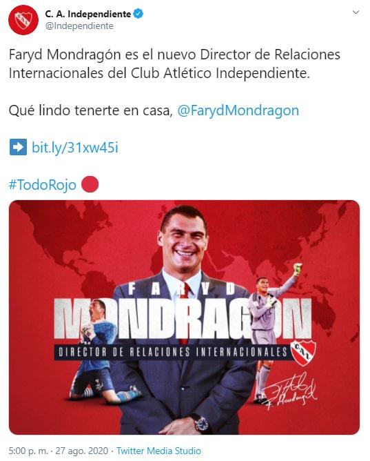 Faryd Mondragón, director de relaciones internacionales, Club Atlético Independiente