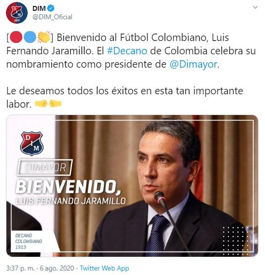 Fernando Jaramillo, reemplazo, Jorge Enrique Vélez, Dimayor, Deportivo Independiente Medellín
