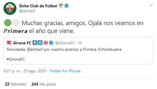Girona, Johan Mojica, felicitación, Elche