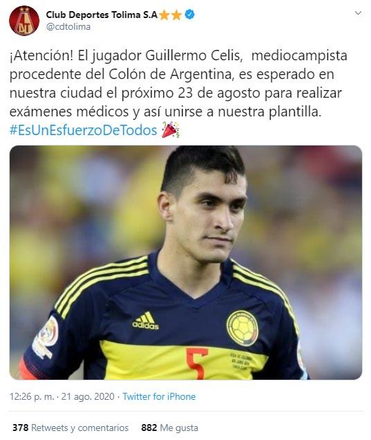 Guillermo Celis, Deportes Tolima, contratación, Deportivo Independiente Medellín