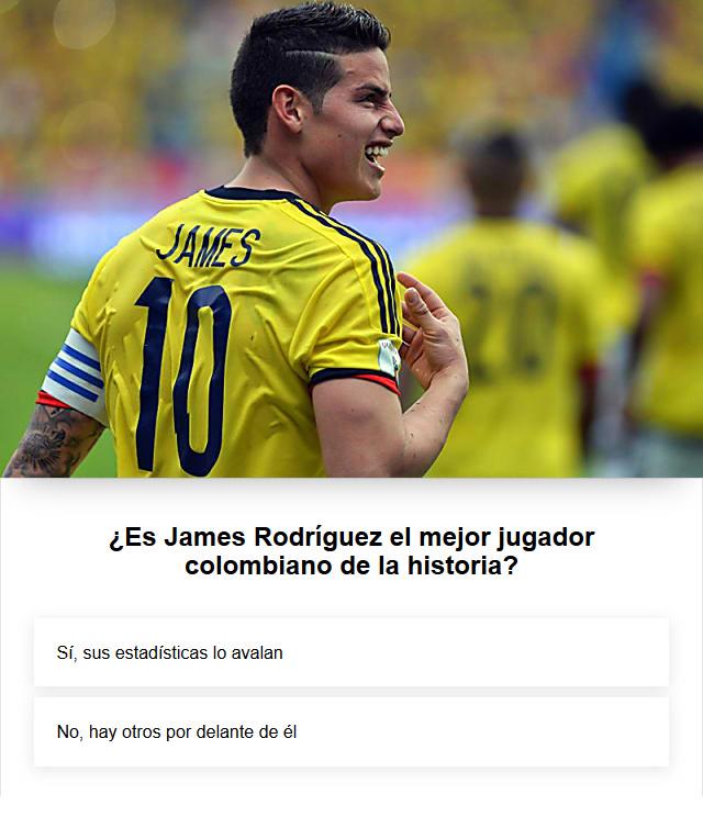 James Rodríguez, Selección Colombia, mejor jugador colombiano, encuesta