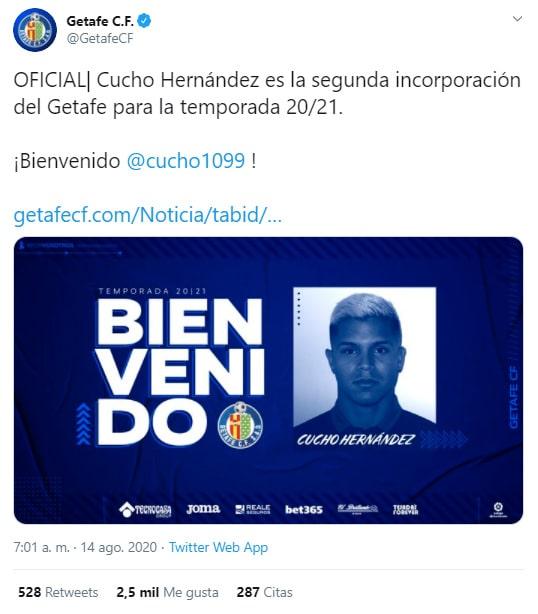 Juan Camilo 'Cucho' Hernández, Getafe CF, presentación